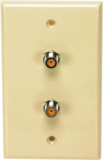 Perfect Vision WPDNPISC-05 Ivory Wall Plate with Dual 3GHz F-81 Coax Connectors