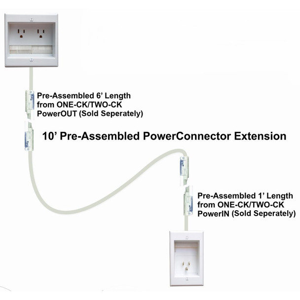 PowerBridge Soluitions PowerConnect CKRE 10-Feet In-Wall Power Extension Cable