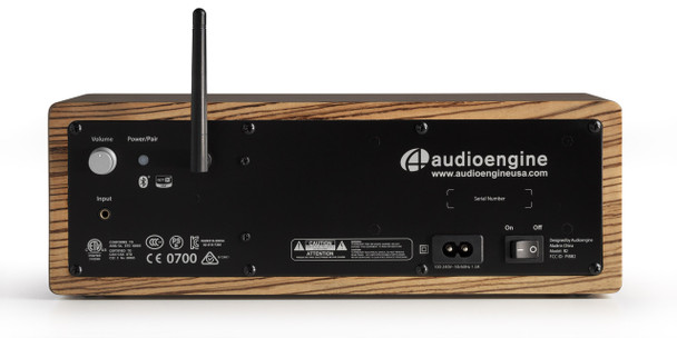 Audioengine B2 Premium Bluetooth Speaker - Zebrawood (B2-ZBR) - Rear Panel Connections