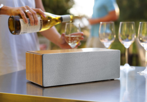 Audioengine B2 Premium Bluetooth Speaker - Zebrawood (B2-ZBR) - Entertaining on Patio