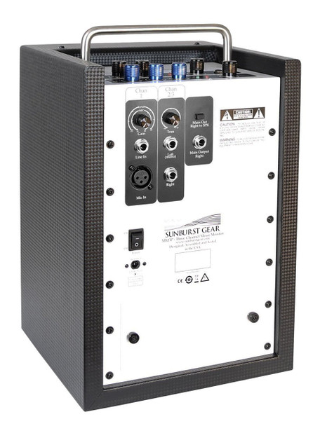 Sunburst Gear MM3P Three Channel Mixer/Monitor Portable All-in-One Battery Powered PA Speaker System - rear connections