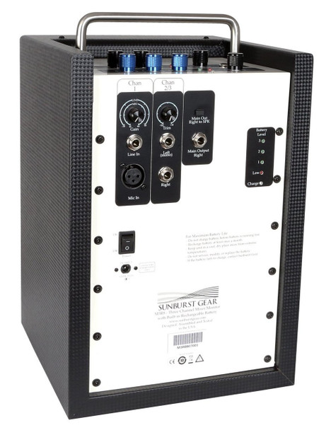 Sunburst Gear M3R8 Portable All-In-One Rechargeable Battery Powered PA Speaker System - rear view with connections