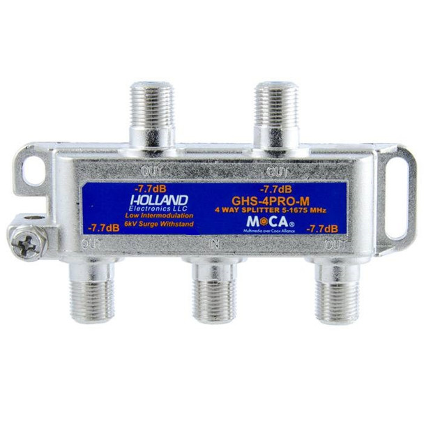 Holland Electronics GHS-4PRO-M MoCA Rated 4-Way CATV Splitter MSO approved for Cable TV internet over coax
