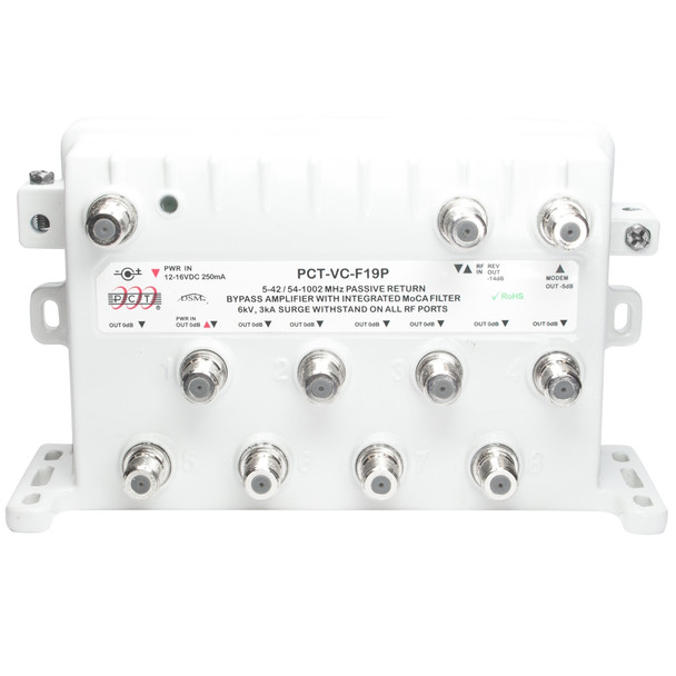 PCT-VC-F19P 9 Port Cable TV MoCA Bypass Amplifier with Passive Return - front view