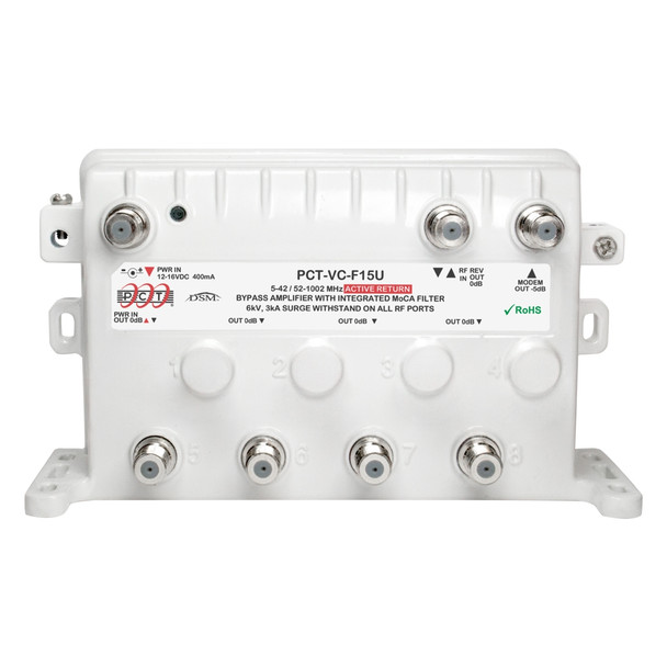 PCT-VC-F15U MoCA Bypass RF Amplifier with Unity Gain and Active Return - PCT CATV Amp