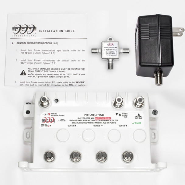PCT-VC-F15U MoCA Bypass RF Amplifier with Unity Gain and Active Return - What's included