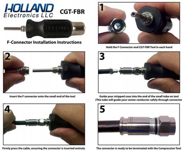 Holland CGT-FBR Installation Guide for F-type compression connectors