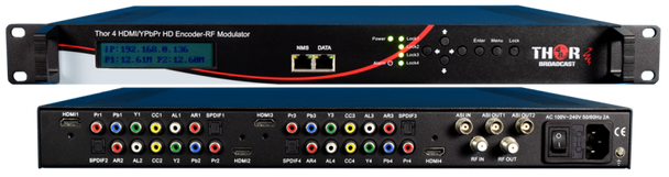 Thor H-4ADHD-QAM-IPLL 4-Channel HDMI/YpPbr/Composite to QAM Low Latency Encoder Modulator with IPTV