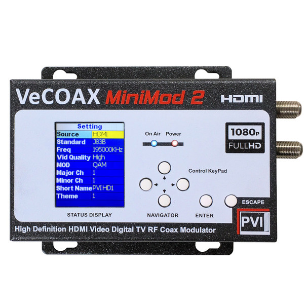 VeCOAX Minimod-2 1080p Full HD Dolby Ultra Compact Digital HD TV Modulator - front
