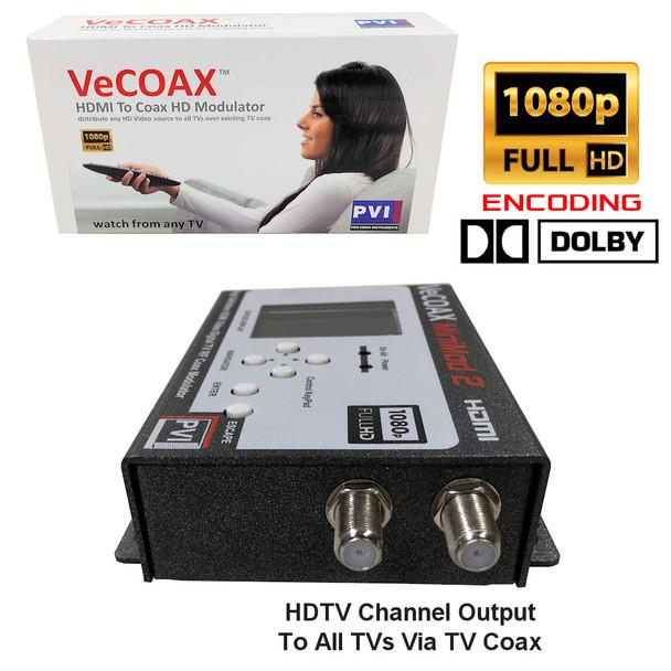 VeCOAX Minimod-2 1080p Full HD Dolby Ultra Compact Digital HD TV Modulator  - coax ports