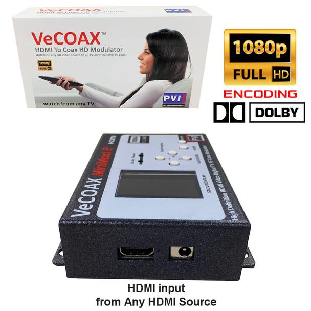 VeCOAX Minimod-2 1080p Full HD Dolby Ultra Compact Digital HD TV Modulator  - hdmi video input