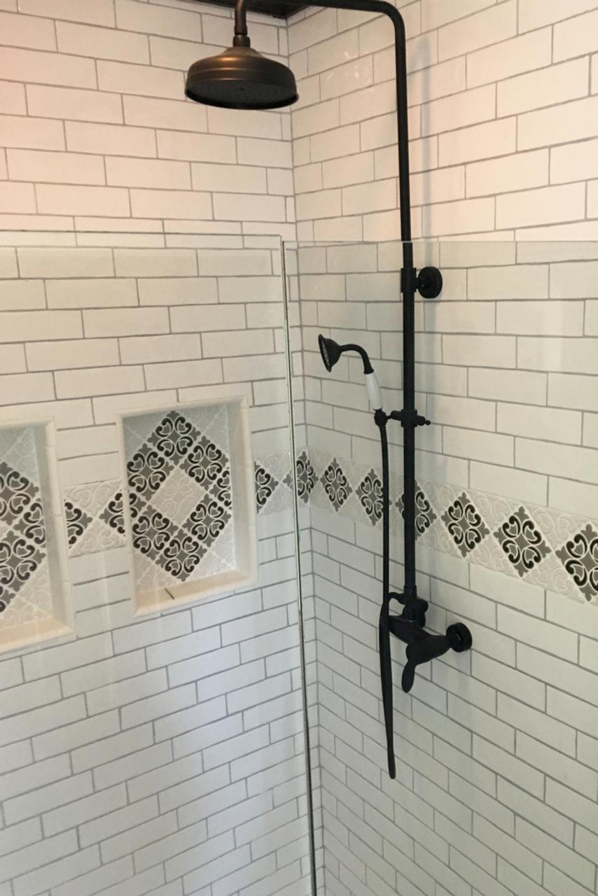 Modern Farmhouse Bathroom with Hiser Handmade Tile Border & Niches ...