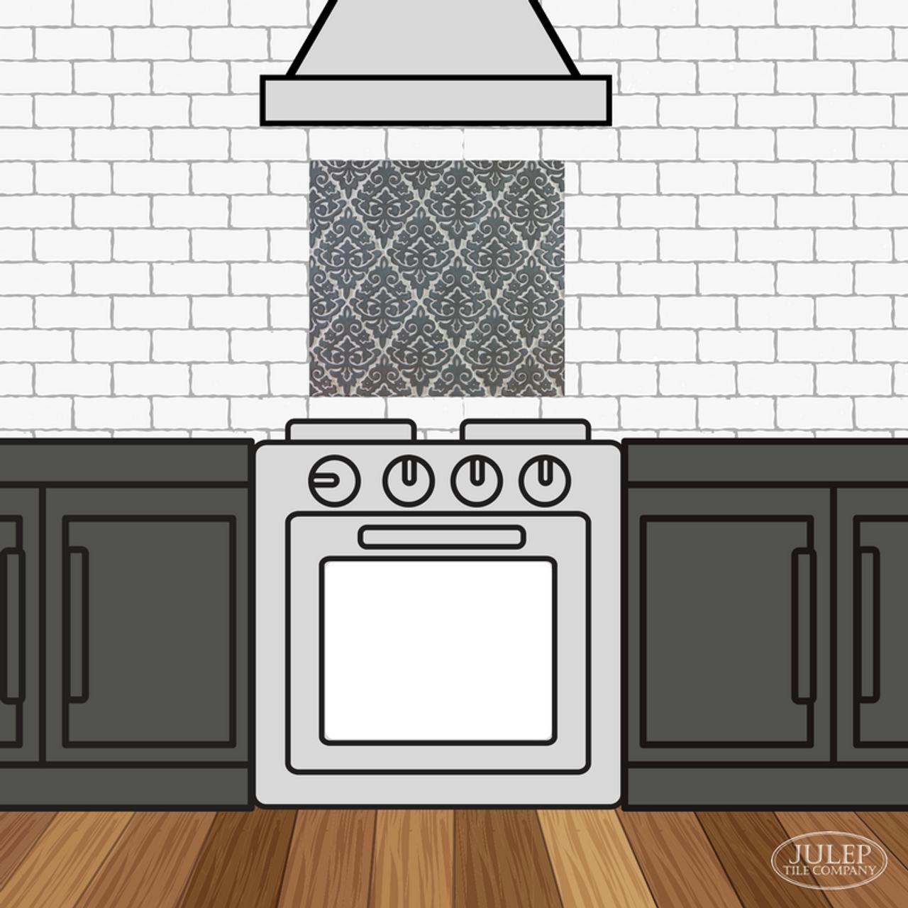 Kitchen Backsplash With Damask Handmade Tile Decorative Insert Over The Stove