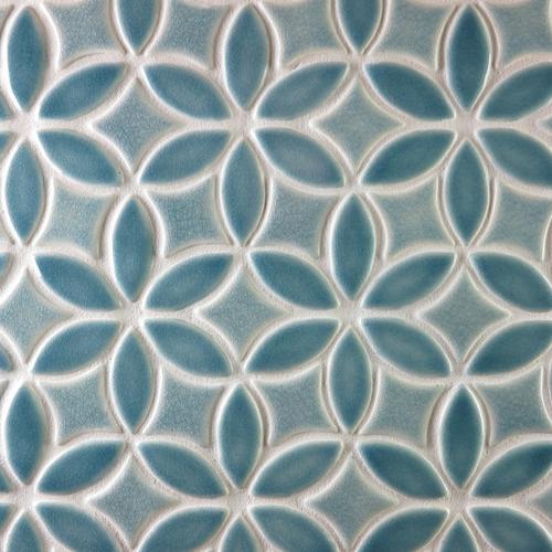 Handmade Tile with Bloom Pattern in Deep Blue Crackle & Sky Blue Crackle glazes