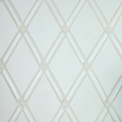 Handmade Tile Gate Pattern in Tone on Tone White