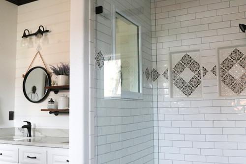 Modern Farmhouse Bathroom with Hiser Handmade Tile Border ... on Farmhouse Tile  id=91739