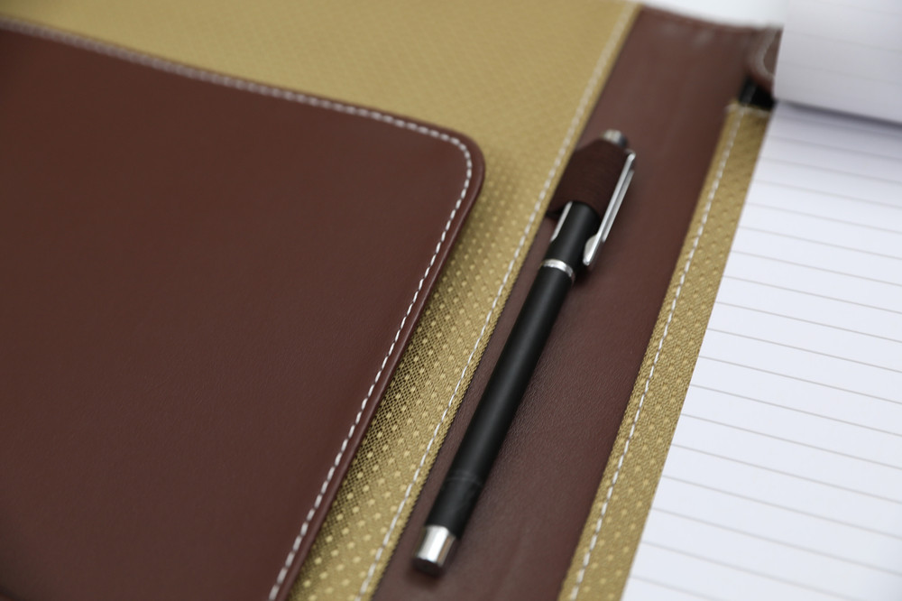... Brown Leather Business Padfolio Portfolio With Large Notepad ...