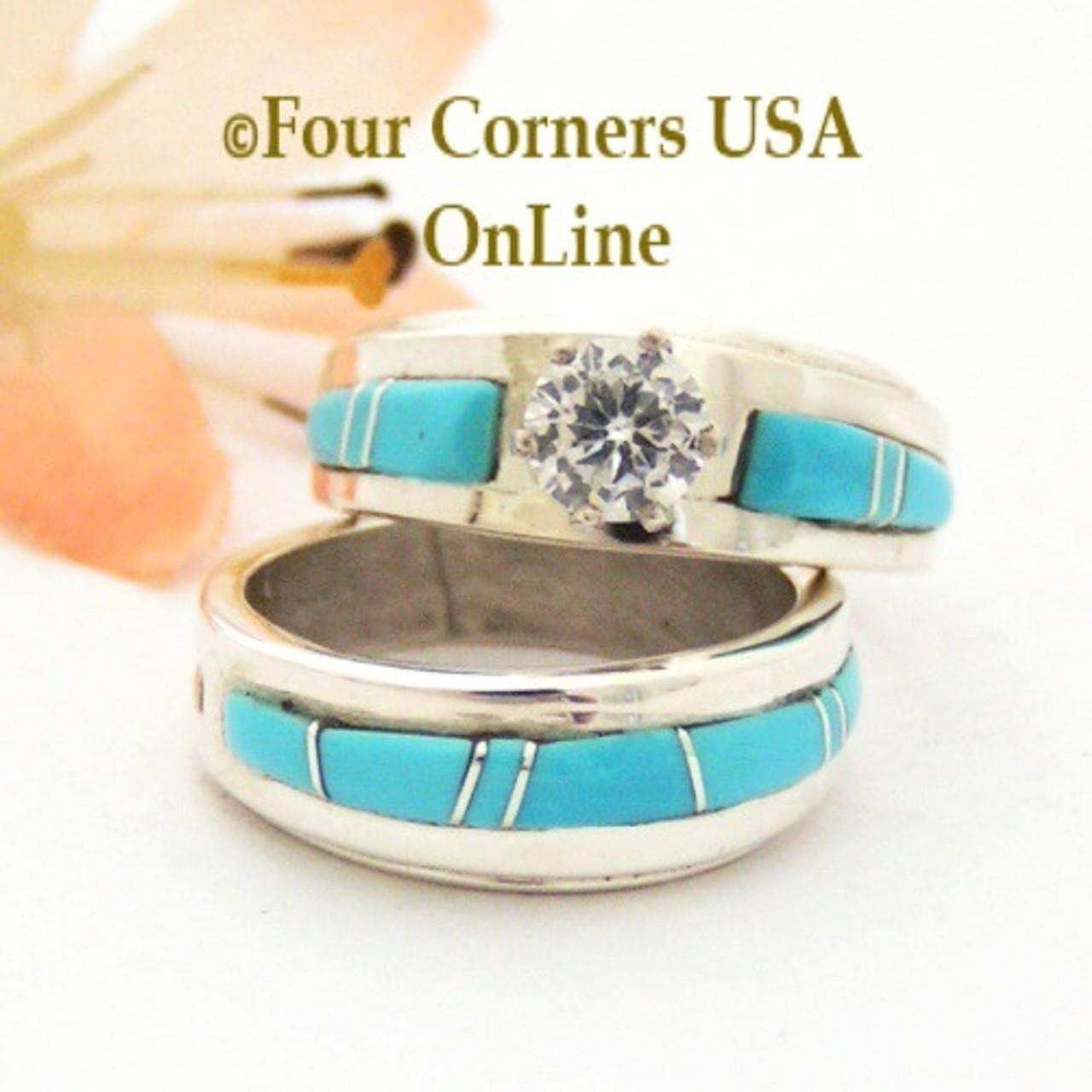 Size 4 1/2 Turquoise Engagement Bridal Wedding Ring Set