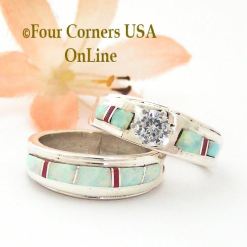 Coral Navajo Wedding Ring Set