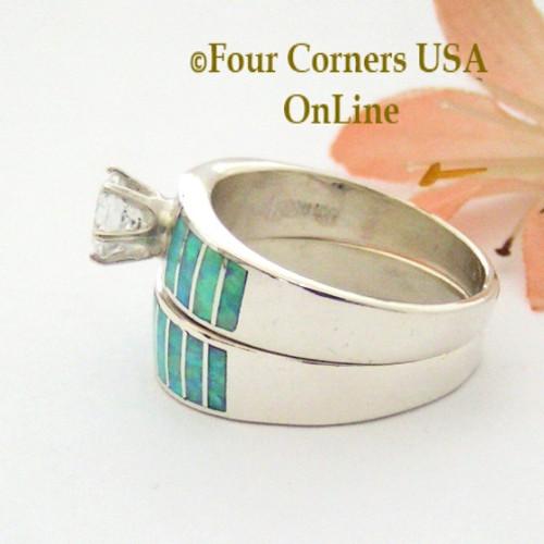 Size 10 Light Blue Fire Opal Wedding Engagement Ring Set