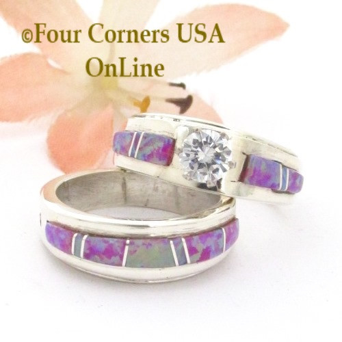 Pink Opal Engagement Ring Sets