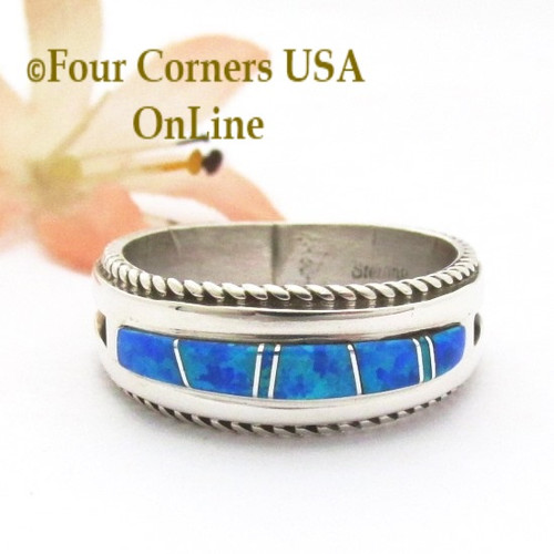 Blue Opal Engagement Wedding Ring Sets