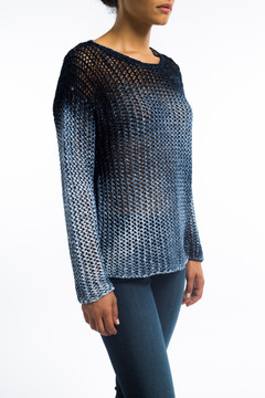 Cotton Cable Sweater Ombre Blue