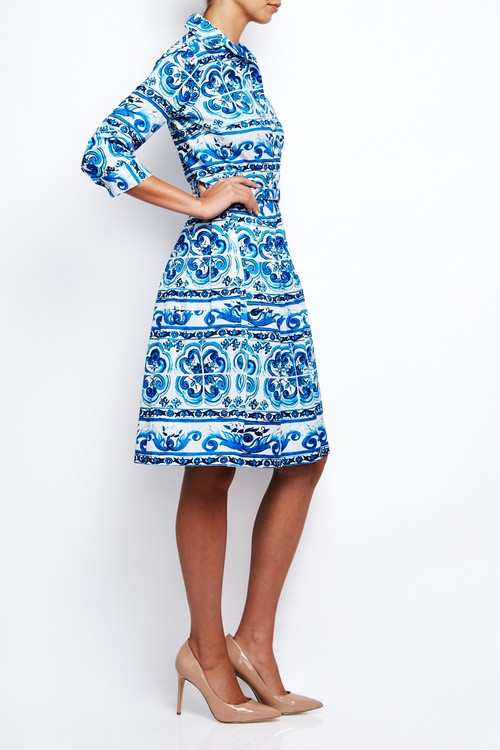 Claire Dress in Ibiza Tile Blue