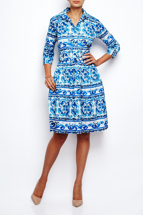 Samantha Sung Claire Dress Ibiza Tile Blue