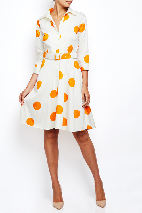 Samantha Sung Abel Dress Orange Polka Dots