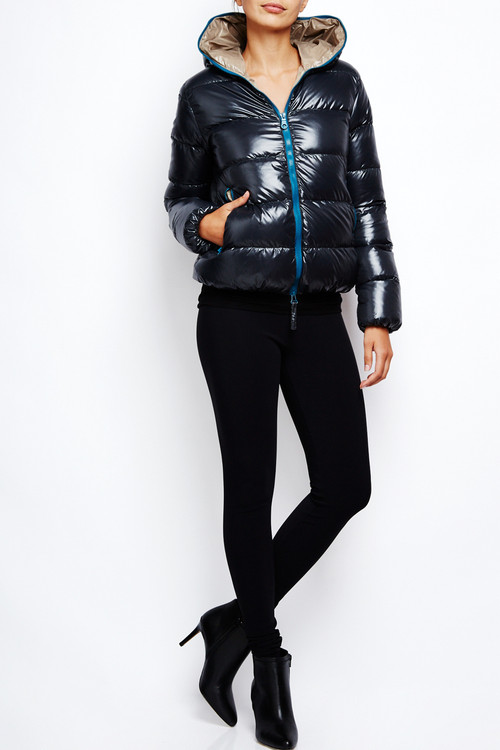 Duvetica Goosedown Puffer Jacket Charcoal Teal