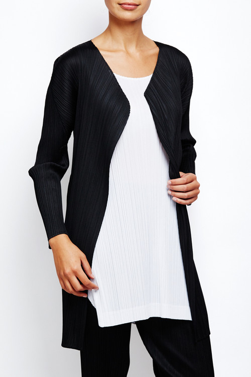 Issey Miyake Pleats Please Long Black Cardigan