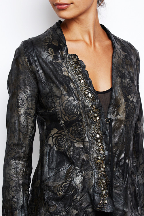 Le Cuir Perdu Embellished Distressed Leather Jacket 1
