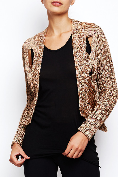 Nellie Partow Hand-Knit Rose Gold Cardigan