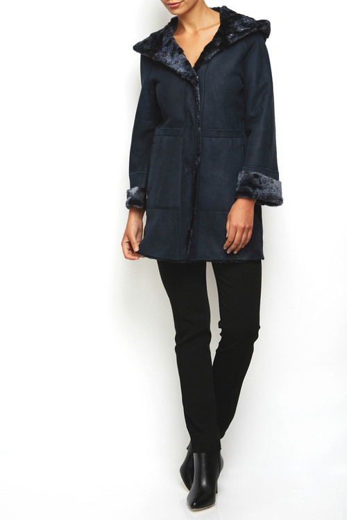 Drome Lamb Leather Coat Blue 2