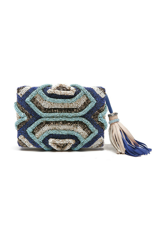 Beaded Stripes Clutch