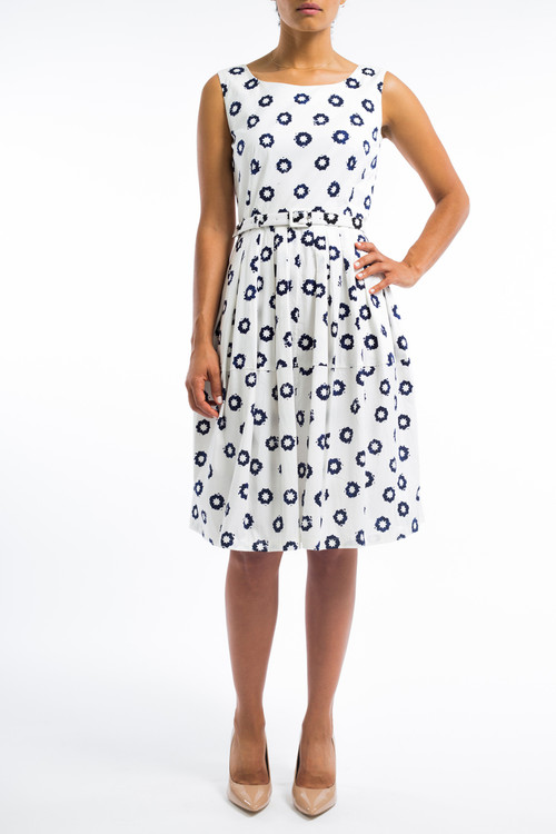 Star dots boat neck dress