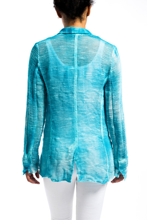 Linen Blazer with Buttons Turquoise