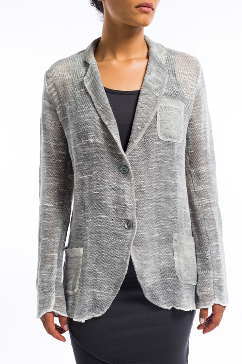 Linen Blazer with Buttons Gray Taupe