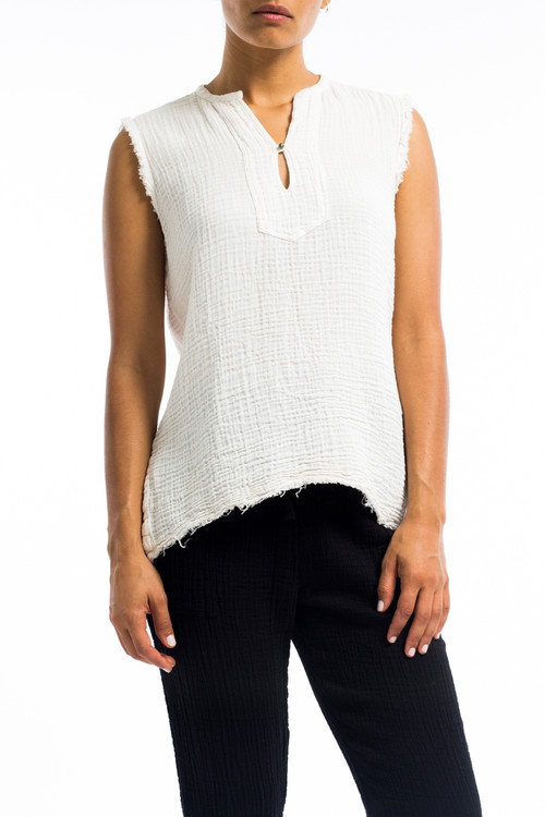 Cotton Button Tunic Top Off White