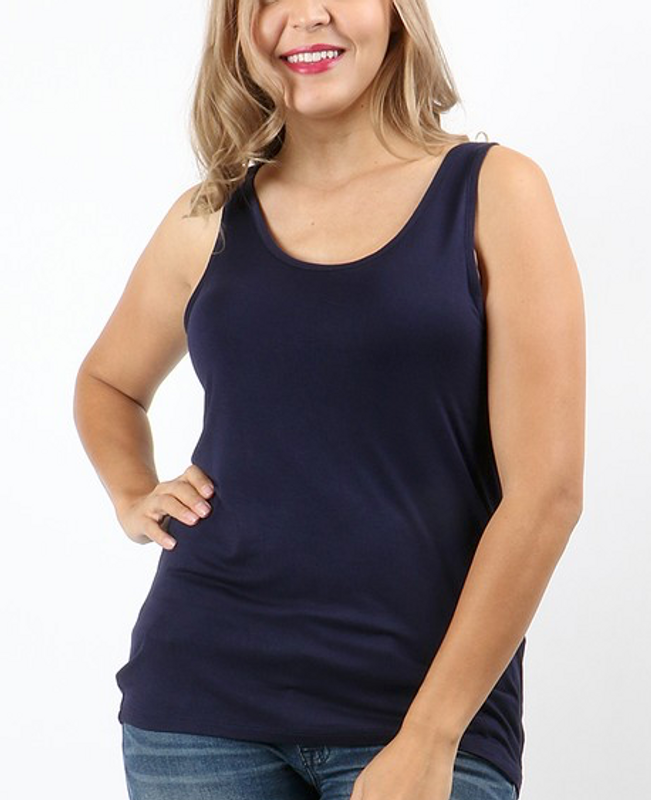 Navy Scoop Neck Tank