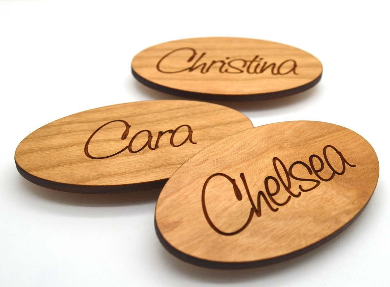 Lovely Oval Wooden Name Tags 3 x1.75