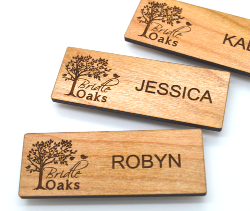 Brand-new Wooden Name Badges 3x1.125 Inches - Laser engraved , with magnetic  TI03