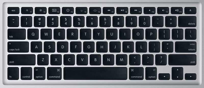 Apple unibody macbook pro laptop keyboard keys