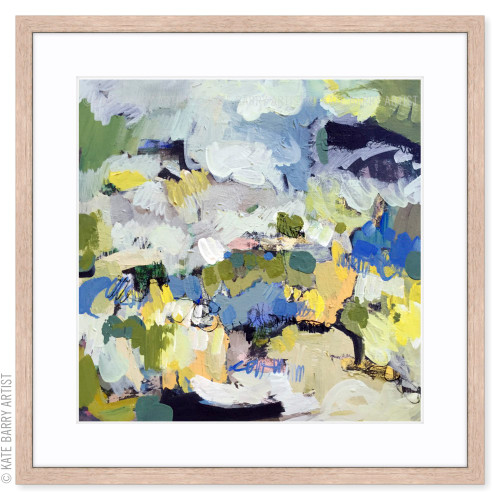Tussock limited edition art print   Natural   Kate Barry Artist yellow, blue, warm grey