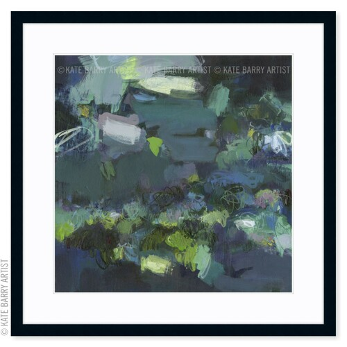 Aerial Blue limited edition art print   Black   Kate Barry Artist moody blues, deep greens