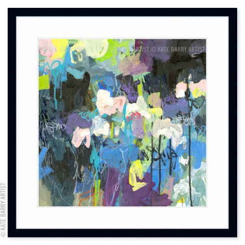 The Way Through Rain limited edition art print   Black   Kate Barry Artist greens and blues paint drips