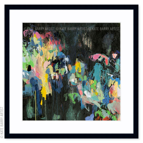 Through the Windscreen limited edition art print   Black   Kate Barry Artist bright colours, paint drips