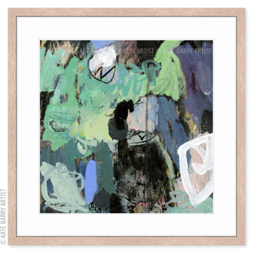 Wooded limited edition art print   Natural   Kate Barry Artist greens and blues abstract art