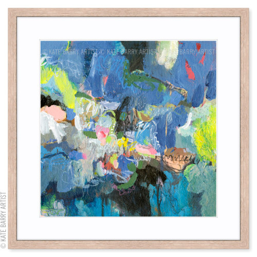 Blue Jostle limited edition art print | Natural | Kate Barry Artist blues, lime greens